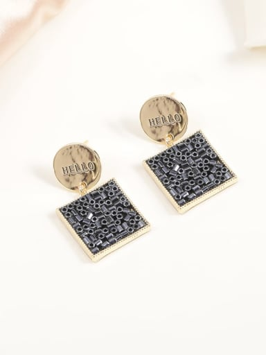 Brass Glass Stone White Square Classic Drop Earring