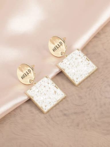 Golden White Bead Brass Glass Stone White Square Classic Drop Earring