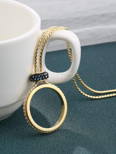 Brass Swarovski Crystal Blue Round Minimalist Long Strand Necklace