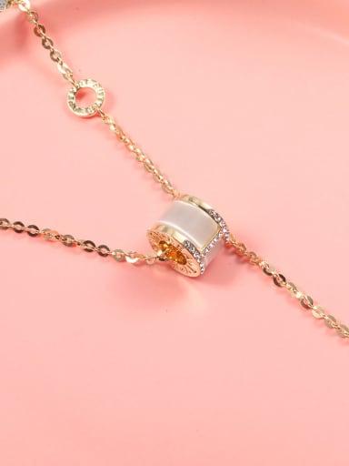 Brass Cubic Zirconia White Round Lariat Necklace