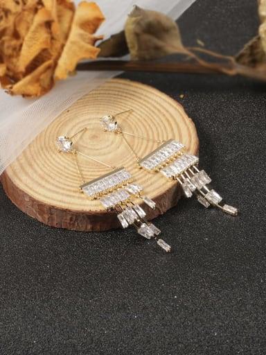 Brass Cubic Zirconia White Geometric Minimalist Stud Earring