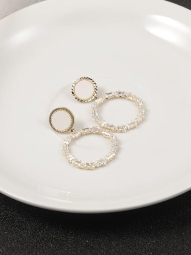 Brass Cubic Zirconia White Round Classic Stud Earring
