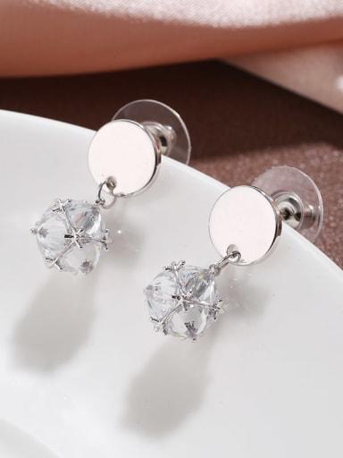 Brass  Cubic Zirconia  simple geometric Earrings