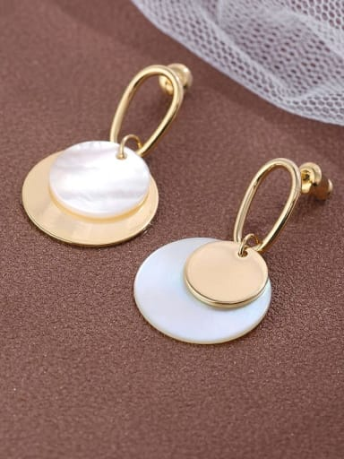 Brass Shell  simple fashion AB Asymmetrical pendant Earrings