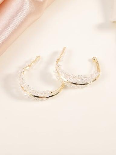 Brass Crystal Clear Geometric Classic Huggie Earring
