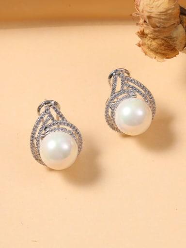 Brass Freshwater Pearl White Irregular Dainty Stud Earring