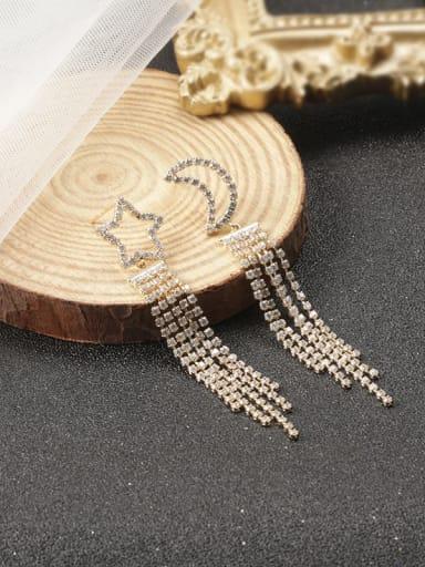 Gold Brass Cubic Zirconia White Tassel Trend Stud Earring
