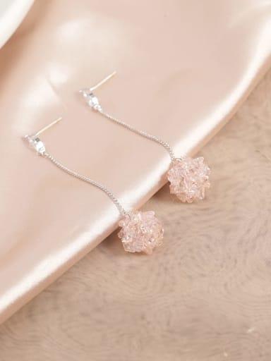 Brass Crystal Pink Tassel Dainty Drop Earring