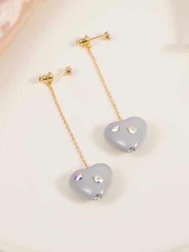 Brass Crystal Multi Color Enamel Heart Minimalist Drop Earring