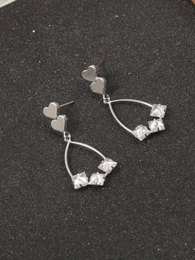Brass Cubic Zirconia White Geometric Classic Drop Earring
