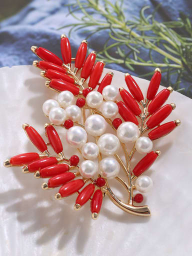 Brass Imitation Pearl Trend Enamel FlowerLeaf  Brooch