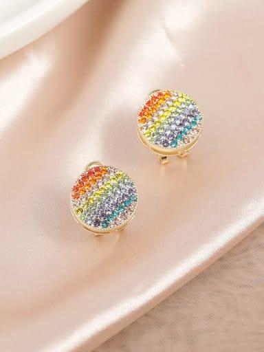 Brass Rhinestone Multi Color Round Trend Huggie Earring