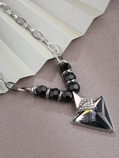 Brass Rhinestone White Triangle Dainty Choker Necklace