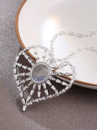 Brass Cubic Zirconia White Heart Minimalist Long Strand Necklace