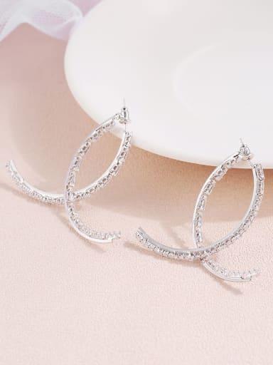 Silver Brass  Cubic Zirconia temperament simple Cross Earrings