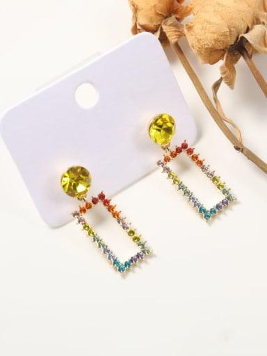 Brass Imitation crystal Multi Color Irregular Classic Drop Earring