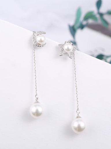 Brass  Cubic Zirconia Asymmetry star moon simple Earrings