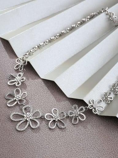 Brass Rhinestone White Flower Dainty Choker Necklace