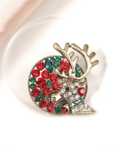 Alloy Rhinestone Multi Color Deer Minimalist Brooch