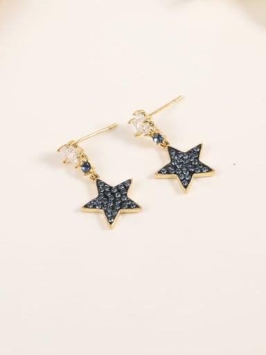 Brass Cubic Zirconia Blue Enamel Star Minimalist Drop Earring