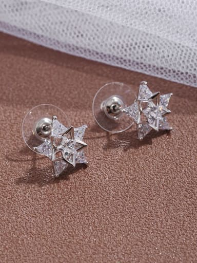 Brass  Cubic Zirconia simple five pointed star Earrings