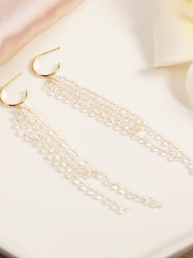 Brass Crystal Clear Tassel Minimalist Drop Earring