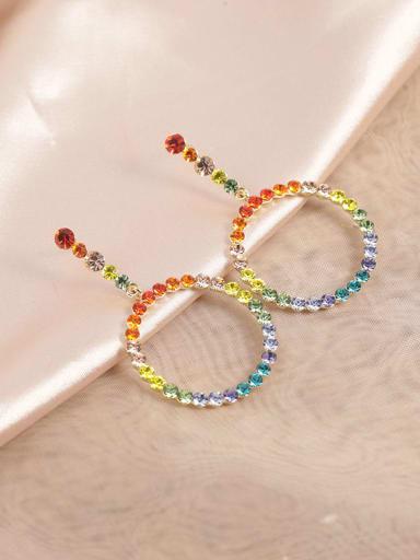 Brass Rhinestone Multi Color Round Dainty Drop Earring