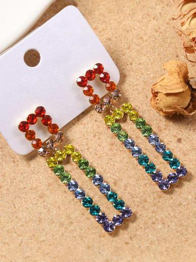 Alloy Crystal Multi Color Geometric Dainty Drop Earring
