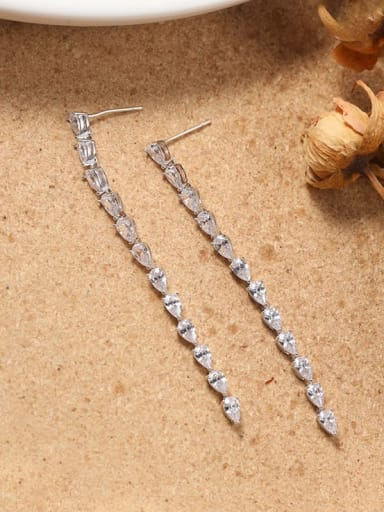 Brass Cubic Zirconia White Rectangle Minimalist Drop Earring
