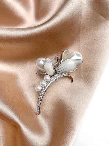Brass Cubic Zirconia White Enamel Flower Classic Brooch