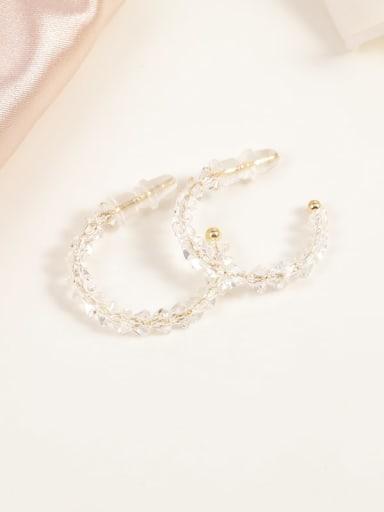 Brass Crystal Clear Geometric Minimalist Hoop Earring