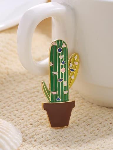 Multi Brass+Enamel Cute cactus  accessories