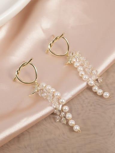 Brass Crystal Clear Tassel Dainty Drop Earring