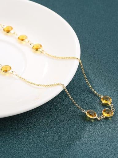 Brass Crystal Yellow Round Minimalist Long Strand Necklace