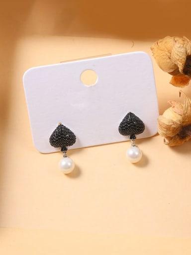 Color Brass Cubic Zirconia Black Irregular Minimalist Stud Earring