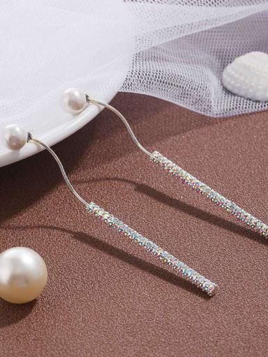 Brass  Cubic Zirconia  Simple tassel  Earrings