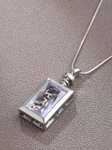 Brass Cubic Zirconia White Square Minimalist Long Strand Necklace