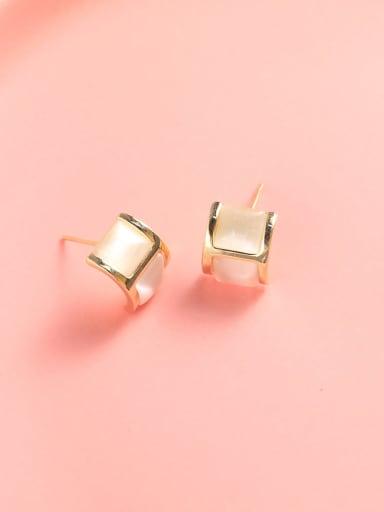 Brass Cats Eye White Irregular Classic Stud Earring