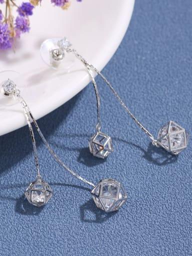 Brass Cubic Zirconia Simple  Tassel Long Earring