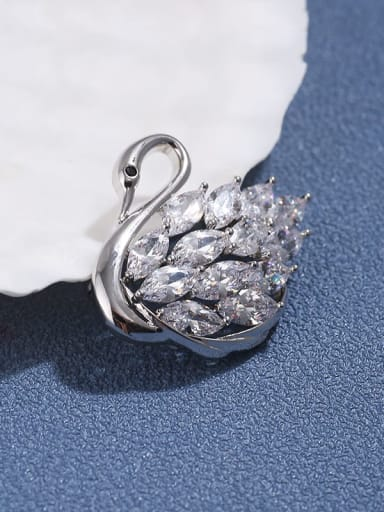 Platinum (Small) Brass  Cubic Zirconia Dainty Swan Brooch