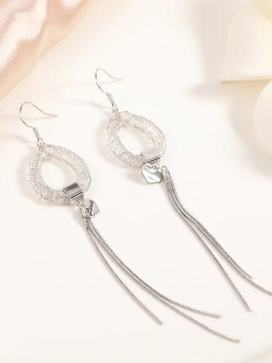 Brass Crystal Clear Tassel Dainty Hook Earring