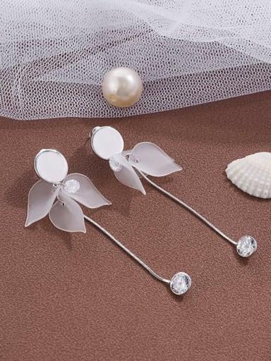 Brass Cubic Zirconia Leaf tassel earrings