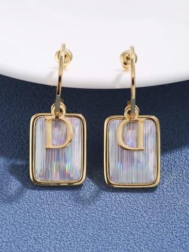 Brass  multi letter D square gradient Earrings