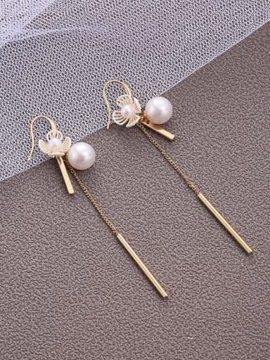 Brass  Imitation Pear   Simplicity Flower   long Tassel Earrings