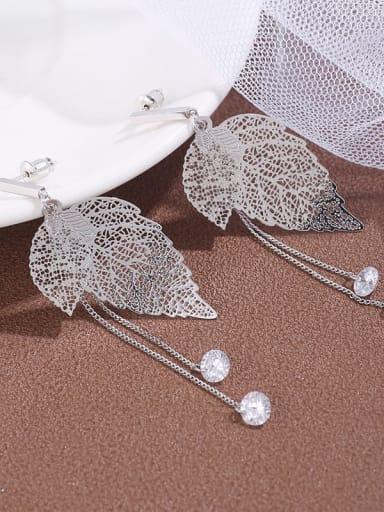 Brass  Cubic Zirconia Hloow Leaf Earrings