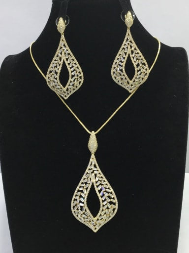 Classic Water Drop Copper Cubic Zirconia White Earring and Necklace Set