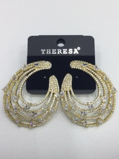 Copper Cubic Zirconia White Water Drop Luxury Ear Jacket Earring