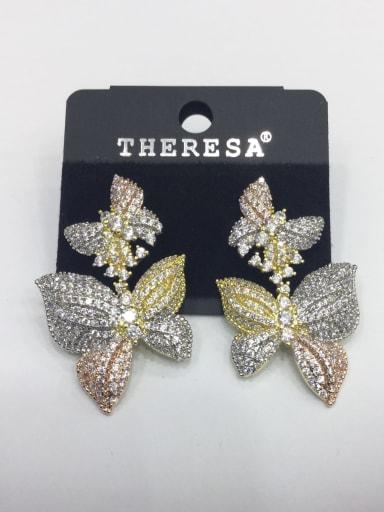 Copper Cubic Zirconia White Bowknot Classic Drop Earring