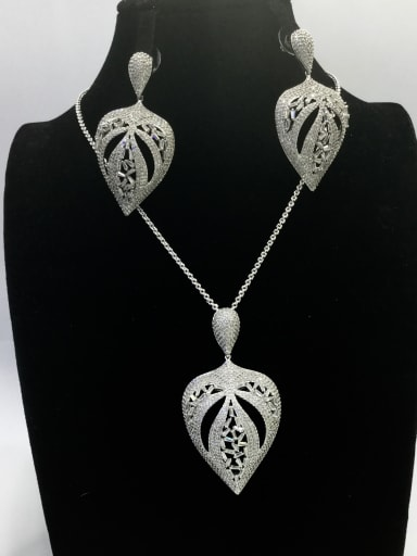 Statement Leaf Copper Cubic Zirconia White Earring and Necklace Set