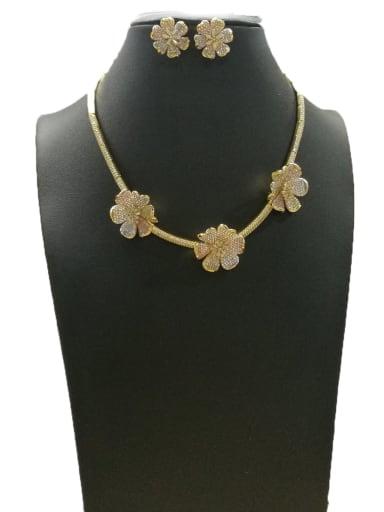 GODKI Luxury Women Wedding Dubai Minimalist Flower Copper Cubic Zirconia White Earring And Necklace Set